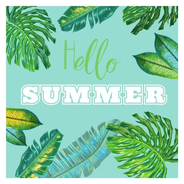 Hallo sommer tropisches design Premium Vektoren