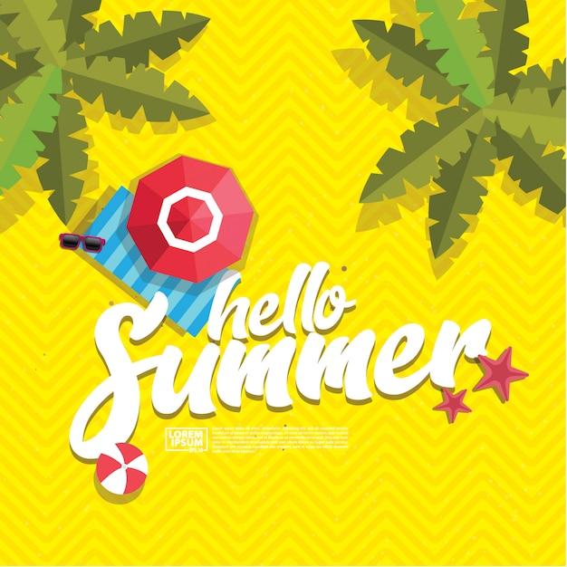Hallo sommer Premium Vektoren
