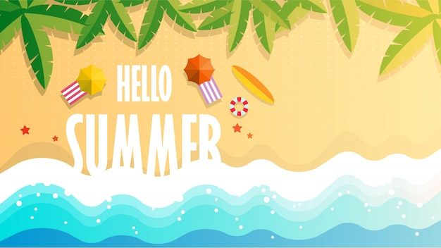 Hallo sommerillustration des tropischen strandes Premium Vektoren