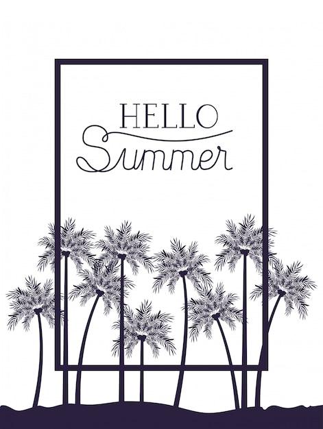Hallo sommerillustration Premium Vektoren