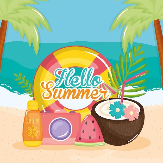 Hallo sommerplakat mit urlaub symbole Premium Vektoren