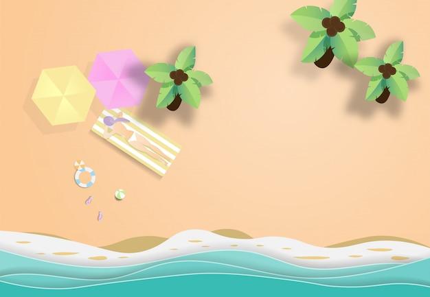 Hallo sommerstrand-vektorhintergrund. Premium Vektoren
