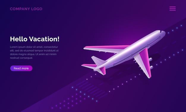 Hallo, urlaub, reisekonzept flugzeug abheben Kostenlosen Vektoren