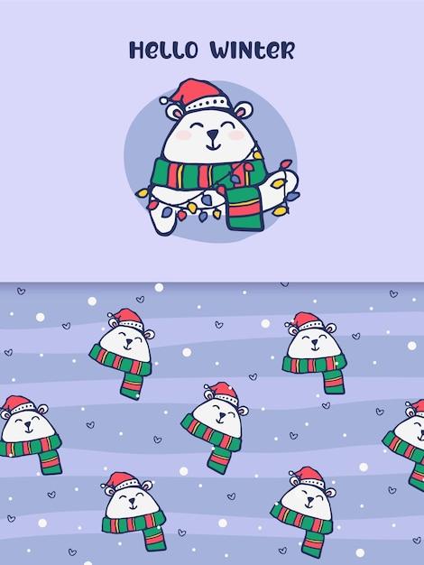 Hallo winter eisbär festliches weihnachtsmuster geschenk Premium Vektoren