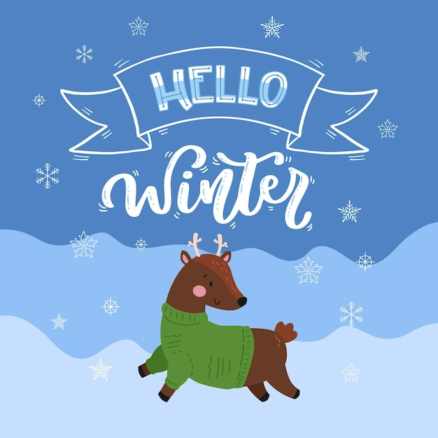 Hallo winter schriftzug mit niedlichen baby rentier Kostenlosen Vektoren