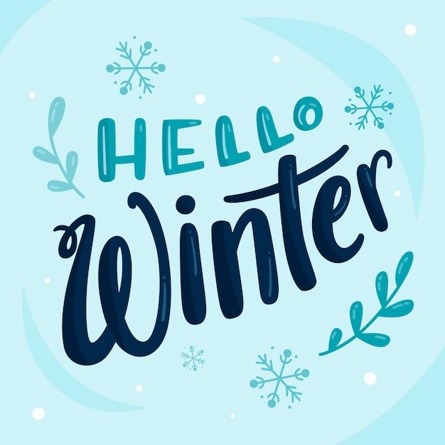 Hallo winter schriftzug mit schneeflocken Kostenlosen Vektoren