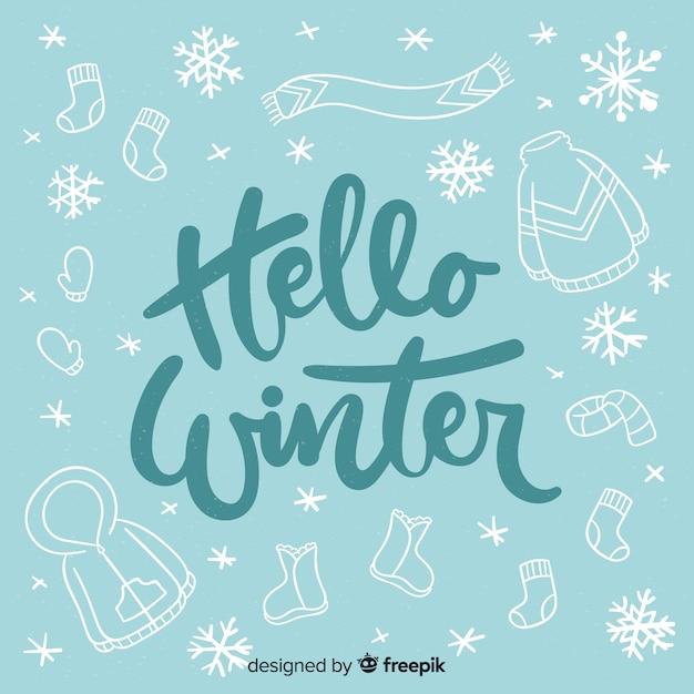 Hallo winter schriftzug Kostenlosen Vektoren