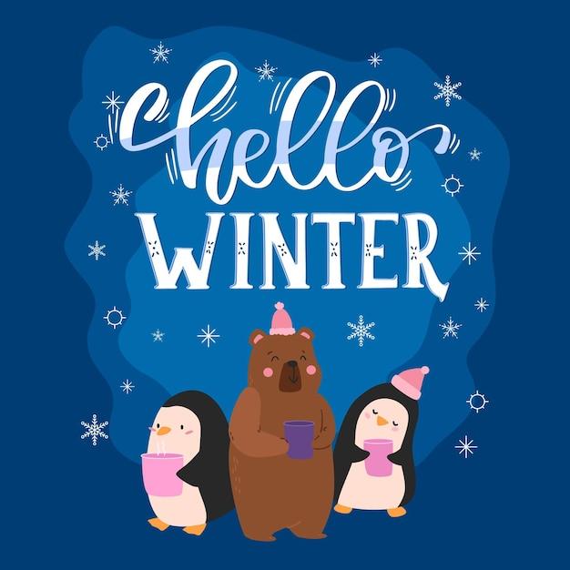 Hallo winterbeschriftung mit niedlichen tieren Kostenlosen Vektoren
