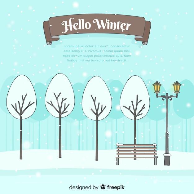 Hallo winterhintergrund Kostenlosen Vektoren
