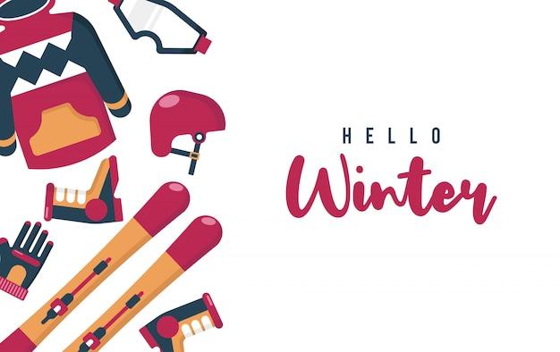 Hallo winterillustration mit flachem vektor Premium Vektoren