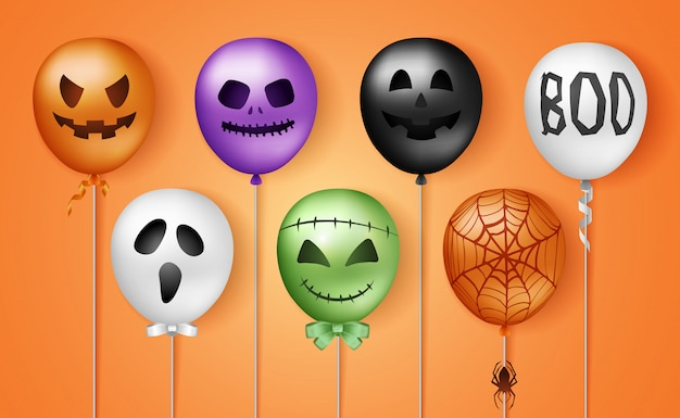 Halloween 3d ballons Premium Vektoren