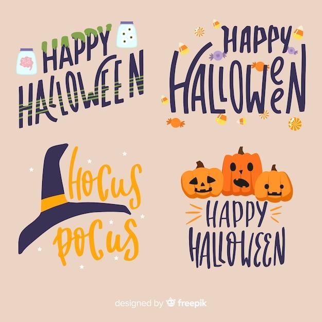 Halloween-abzeichen-kollektion mit schriftzug im flachen design Kostenlosen Vektoren