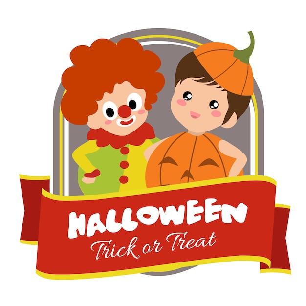 Halloween abzeichen mit clown kostüm kinder Premium Vektoren