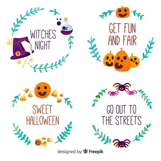 Halloween abzeichen sammlung im flachen design Kostenlosen Vektoren