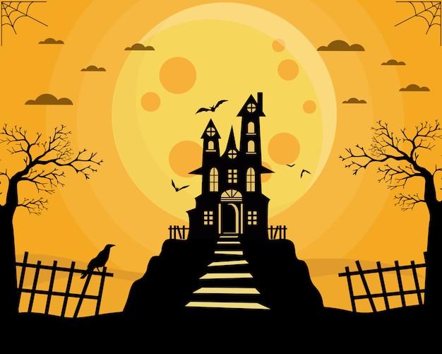 Halloween altes schloss und fliegende hexe Premium Vektoren