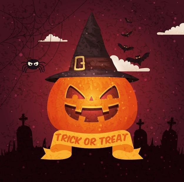Halloween-anschlagtafel über kirchhof Kostenlosen Vektoren