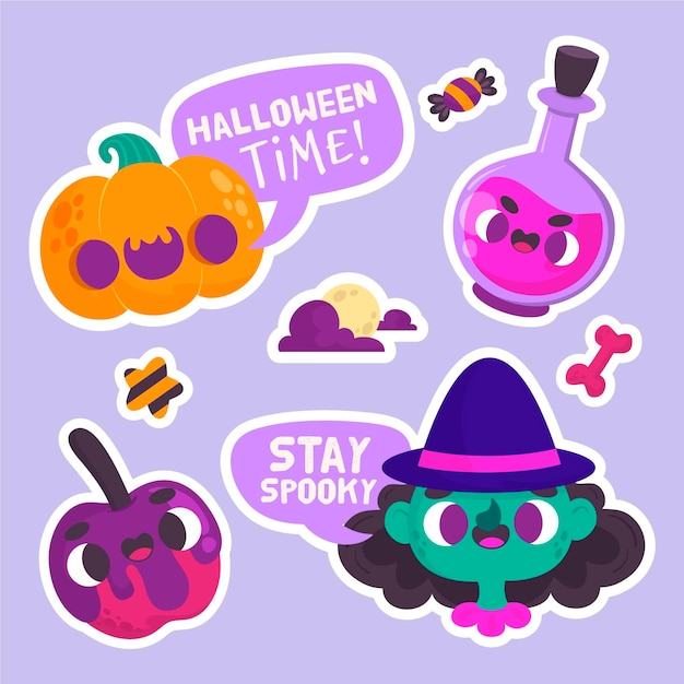 Halloween-aufkleber mit kürbis und hexe Kostenlosen Vektoren