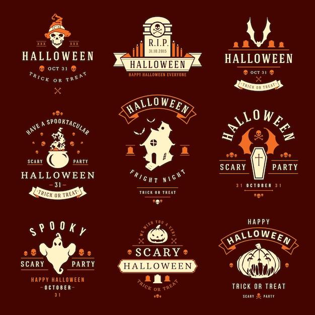 Halloween-aufkleber und -logos mit den gruseligen und gespenstischen symbolen Premium Vektoren
