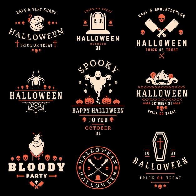 Halloween-aufkleber und logosammlung Premium Vektoren