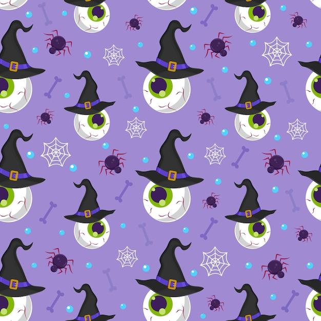 Halloween augapfel nahtlose muster Premium Vektoren