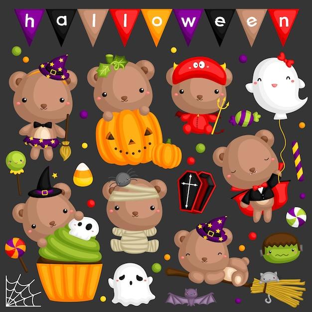 Halloween-bärnbild-set Premium Vektoren