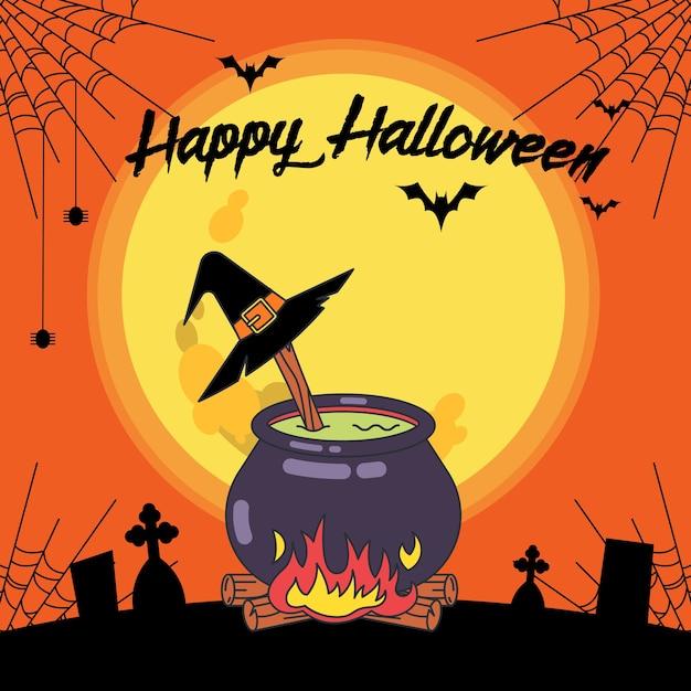 Halloween-banner mit dem eintopf der hexe Premium Vektoren