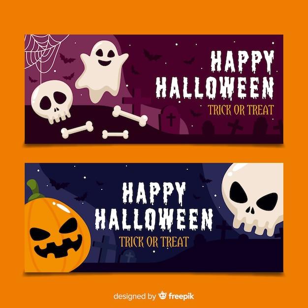 Halloween-banner mit flachem design Kostenlosen Vektoren