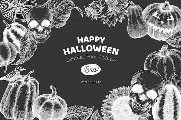 Halloween banner vorlage. hand gezeichnete illustrationen auf kreidetafel. Premium Vektoren