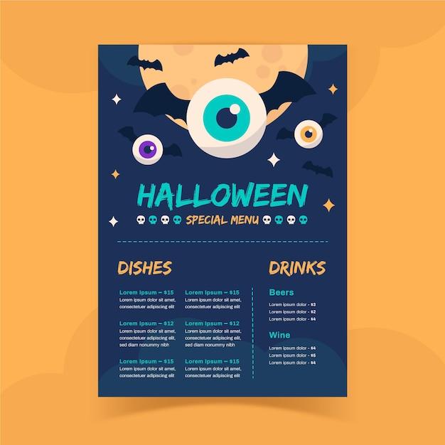 Halloween beängstigende menüvorlage Kostenlosen Vektoren