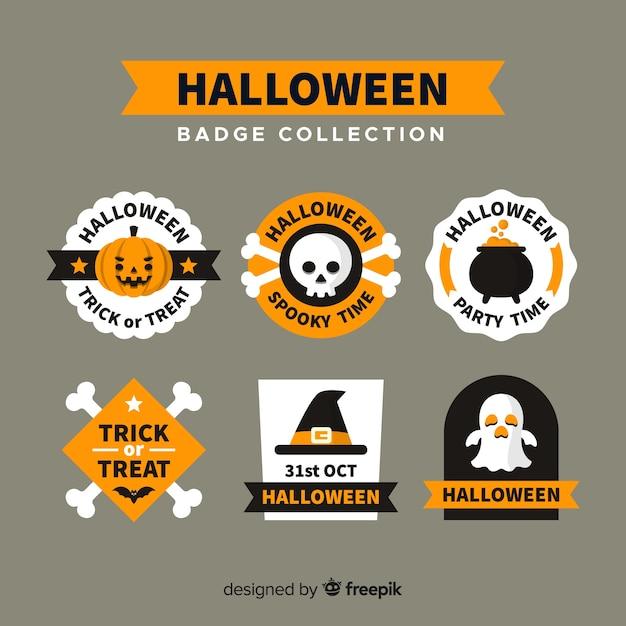 Halloween beschriftet sammlung im flachen design Kostenlosen Vektoren