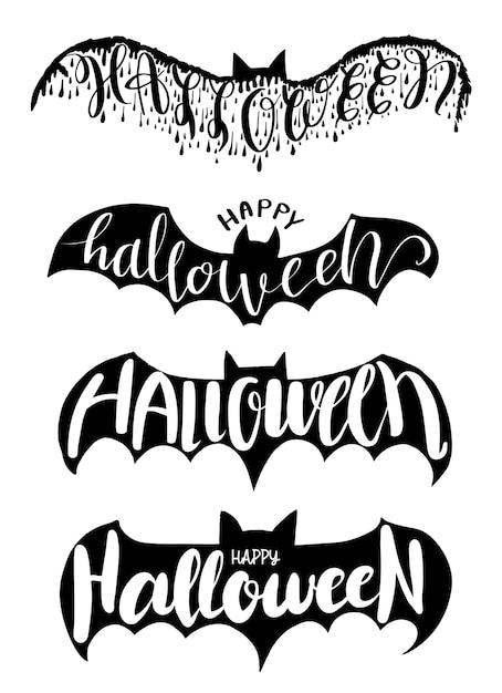 Halloween-beschriftung auf fledermausvektorillustration für halloween-partei, halloween-elementeinladungskarte, plakat und druckaufkleber Premium Vektoren