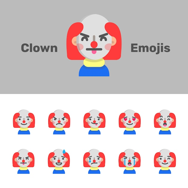 Halloween böse clown emojis Premium Vektoren