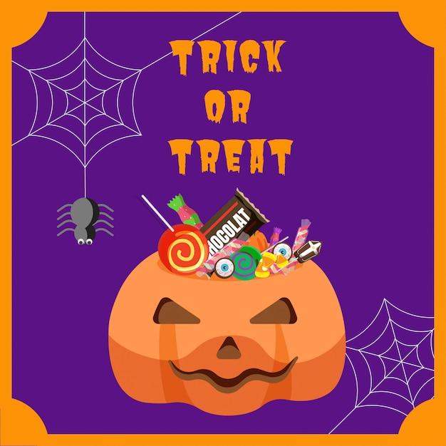 Halloween-bonbon im kürbiseimer Premium Vektoren