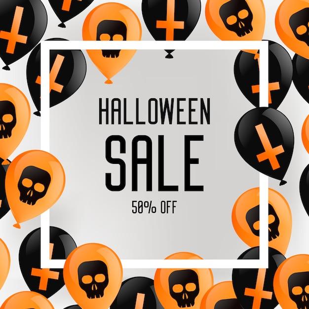 Halloween broschüre banner. lila hintergrund mit luftballons, mit kreuzen und totenköpfen. Kostenlosen Vektoren