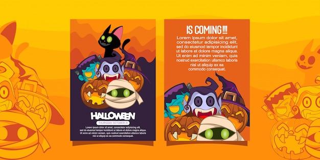 Halloween-broschüre mit illustration von halloween-kostüm Premium Vektoren