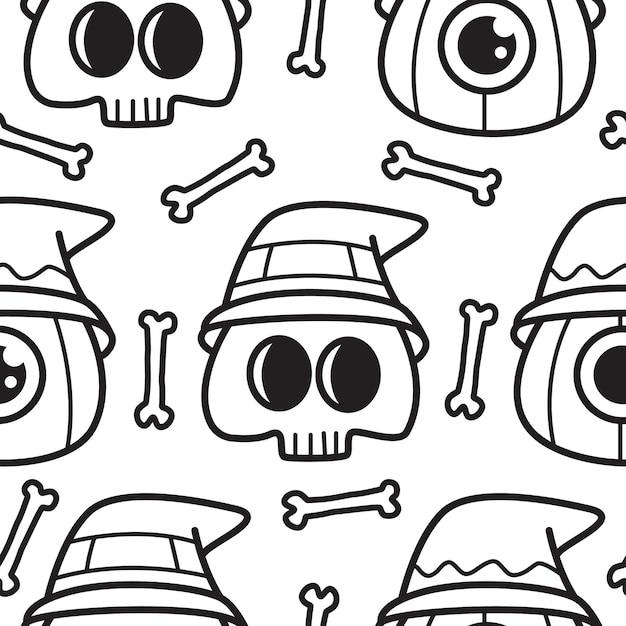 Halloween cartoon gekritzel muster illustration Premium Vektoren