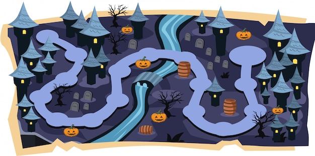 Halloween castle 2d-spielkarten mit pfadebenen Premium Vektoren