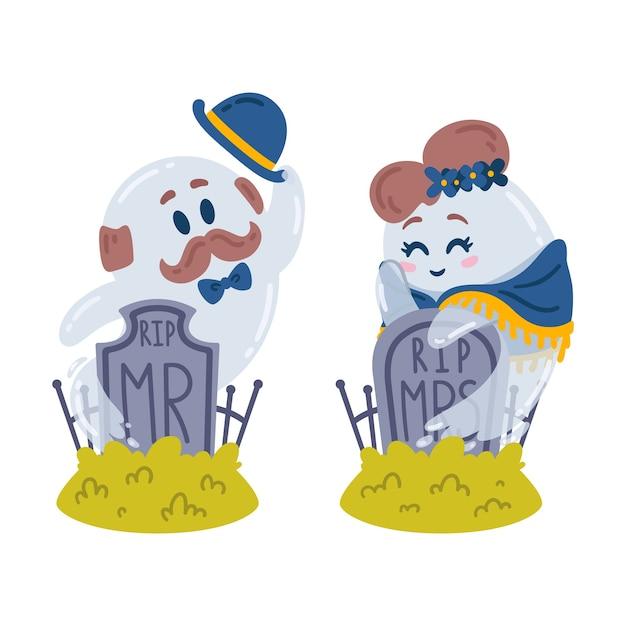 Halloween charaktere. geister und grabsteine. liebesgeschichte auf dem friedhof. zwei geister, herr und frau, treffen sich an ihren grabsteinen. ruhe in frieden. Premium Vektoren