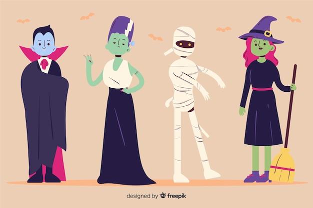 Halloween-charaktersammlung in der hand gezeichnet Kostenlosen Vektoren