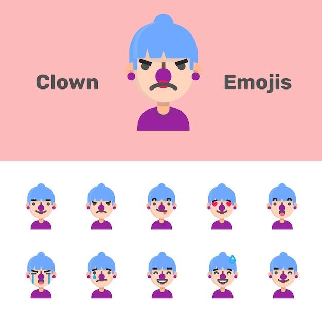 Halloween clown weiblich emojis Premium Vektoren