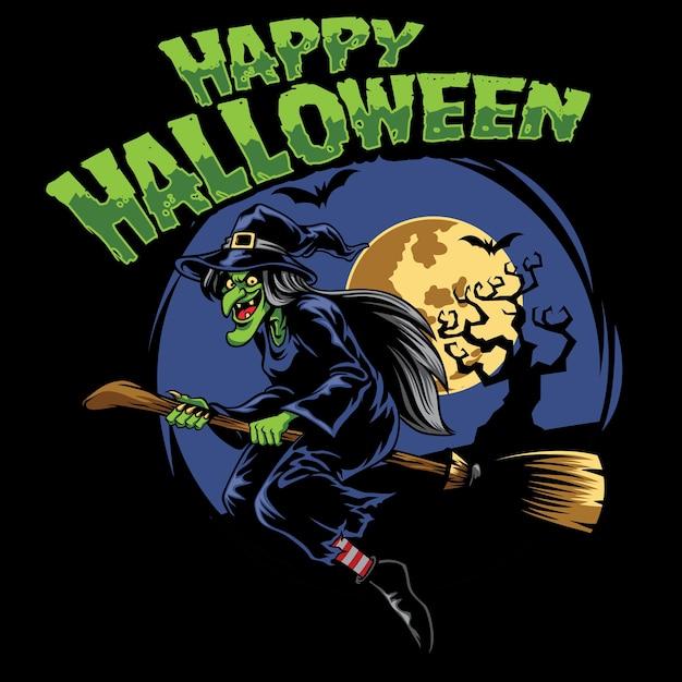 Halloween-design hexe und fliegender besen Premium Vektoren