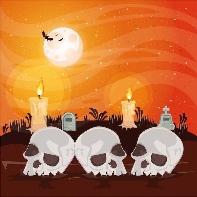 Halloween-dunkle szene mit den schädelköpfen Premium Vektoren