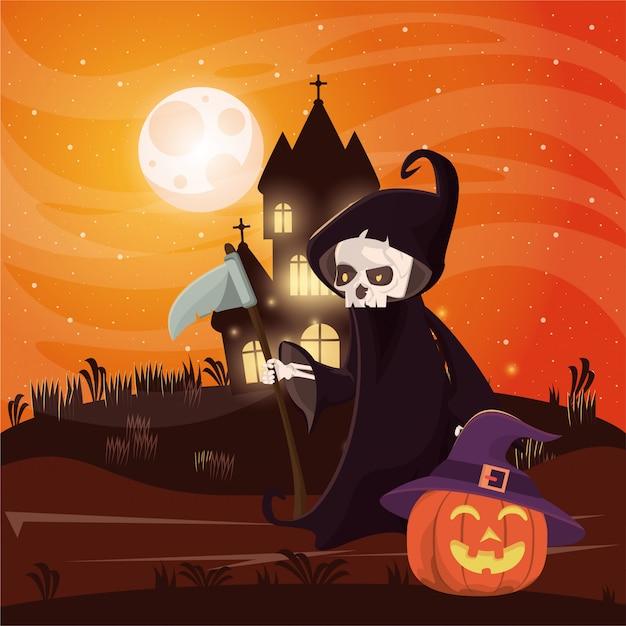 Halloween-dunkle szene mit der person verkleidet vom tod Premium Vektoren