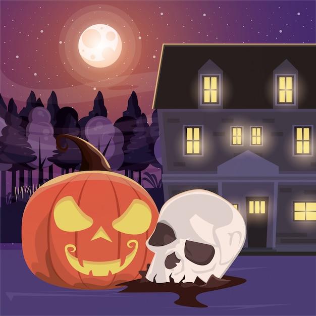 Halloween dunkle szene mit totenkopf Premium Vektoren