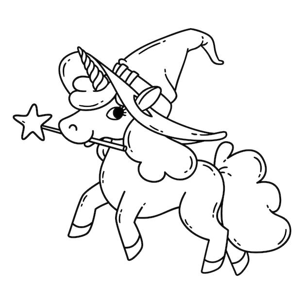 Halloween-einhorn mit zauberstab und hexenhut. Premium Vektoren