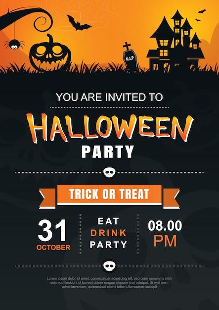 Halloween einladung party plakat vorlage. Premium Vektoren