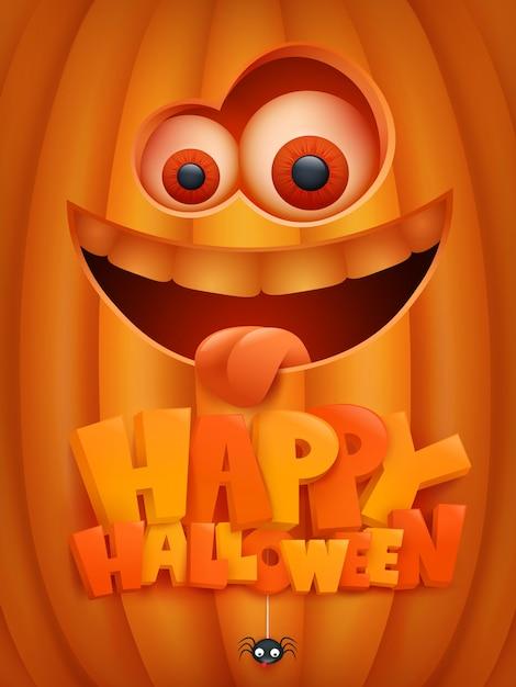 Halloween-einladungskarte mit kürbiskarikaturgesicht. Premium Vektoren