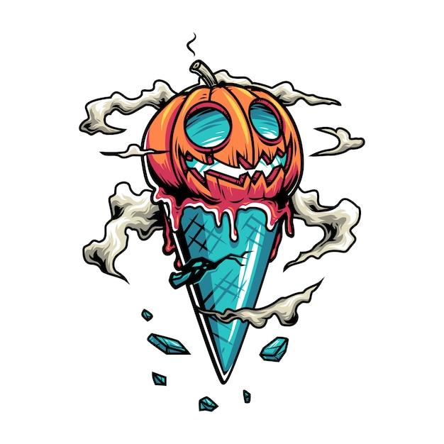 Halloween-eistüte mit kürbis Premium Vektoren