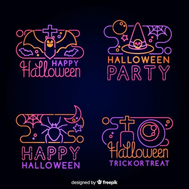 Halloween element leuchtreklame sammlung Kostenlosen Vektoren