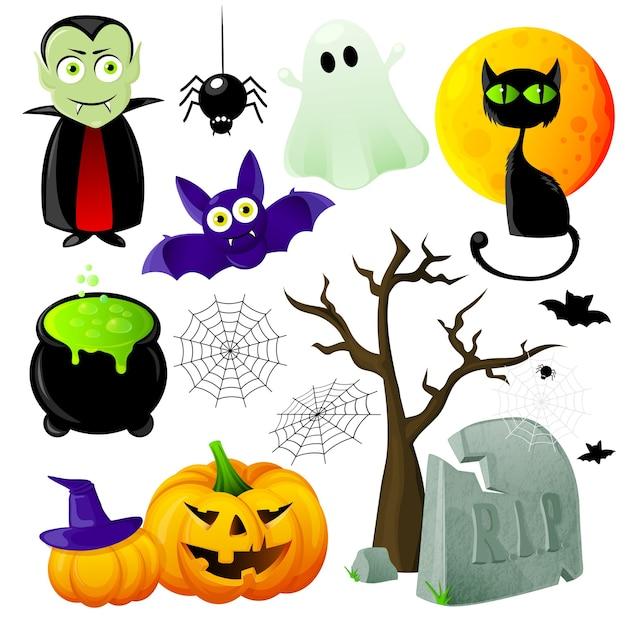 Halloween element set Kostenlosen Vektoren